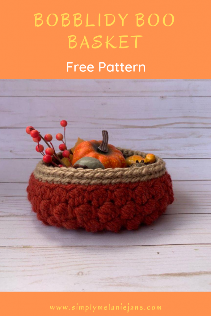 Pinterest Pin of Crochet Basket with fall decorations in it.