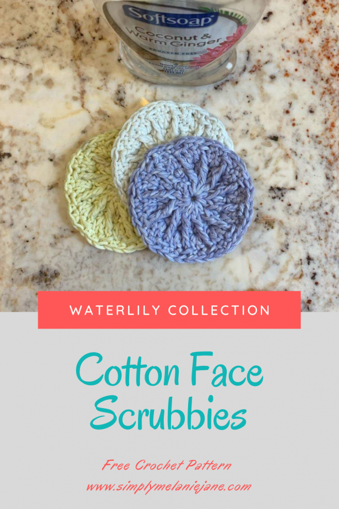 Pinterest Pin showing the picture of the cotton face scrubbies and the information where to find the post.