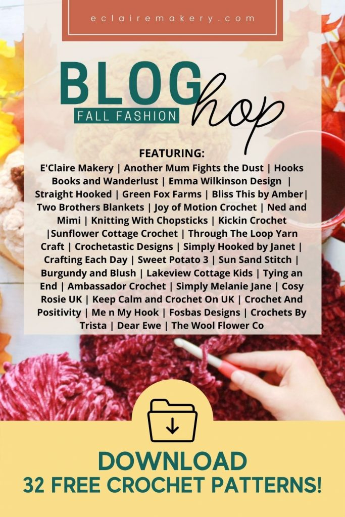 Pinterest pin showing the names of all the designers in the Fall Fashion blog hop.