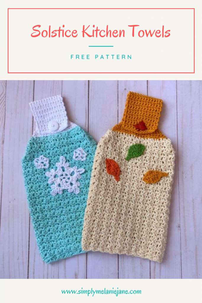 Set of 2 cozy kitchen towels in a textured stitch. One is blue and white and has 3 snowflakes. The other is Ecru and has 3 leaves in  yellow, orange and green colors