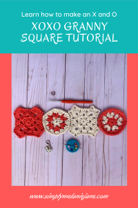 Pinterest picture in coral and teal with picture of crochet granny squares in X's and O's