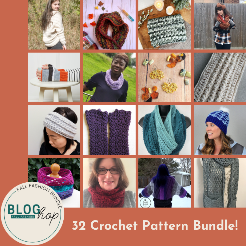 A photo collage of fall crochet garments including beanies, headwarmers, gloves, and crochet cowl.