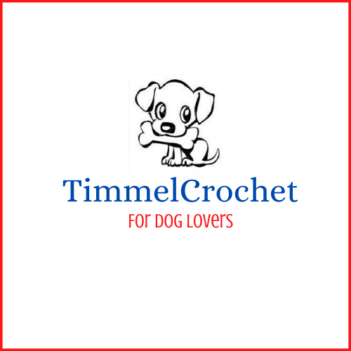 One of two businesses supporting Wigs For Kids. Logo for Timmelcrochet is Red and Blue. Logo is a drawn dog with a bone in its mouth.