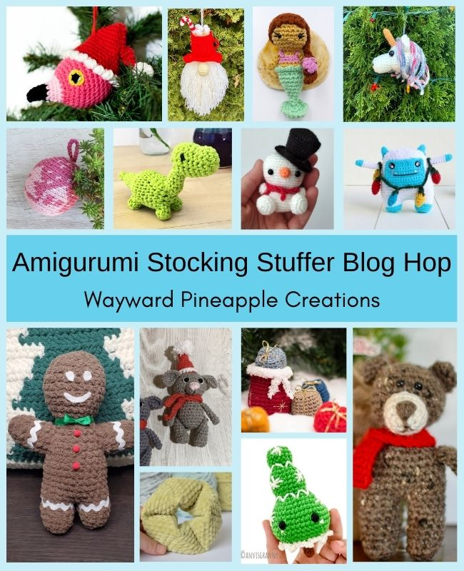 Graphics showing all the amigurumi patterns available in a blog hop including a flamingo, mermaid, unicorn, dinosaur, snowman, ginger bread man, bear, mouse, yeti and more.