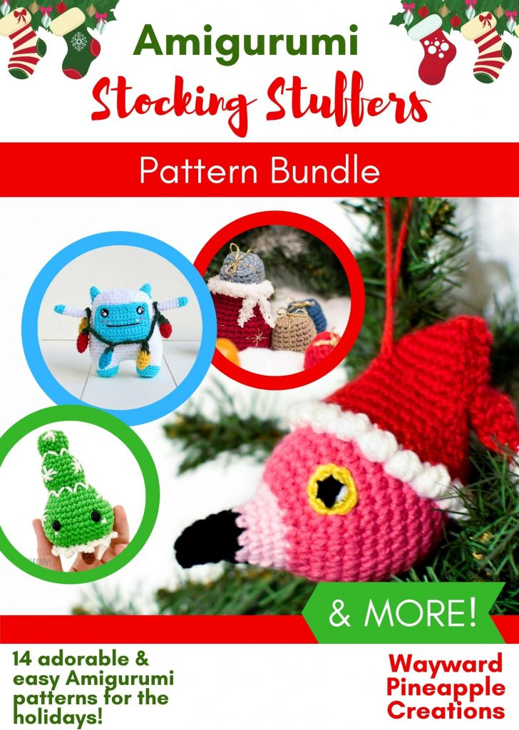 A graphic for the an Amigurumi Stocking Stuffer Pattern Bundle showing a crocheted flamingo with santa hat ornament, tree ornament, stuffed yeti, and santa bag ornament.