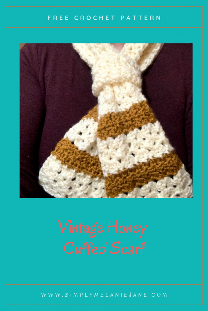 Pinterest Pin with Teal background color with close up of crochet cuffed scarf in off-white and honey.