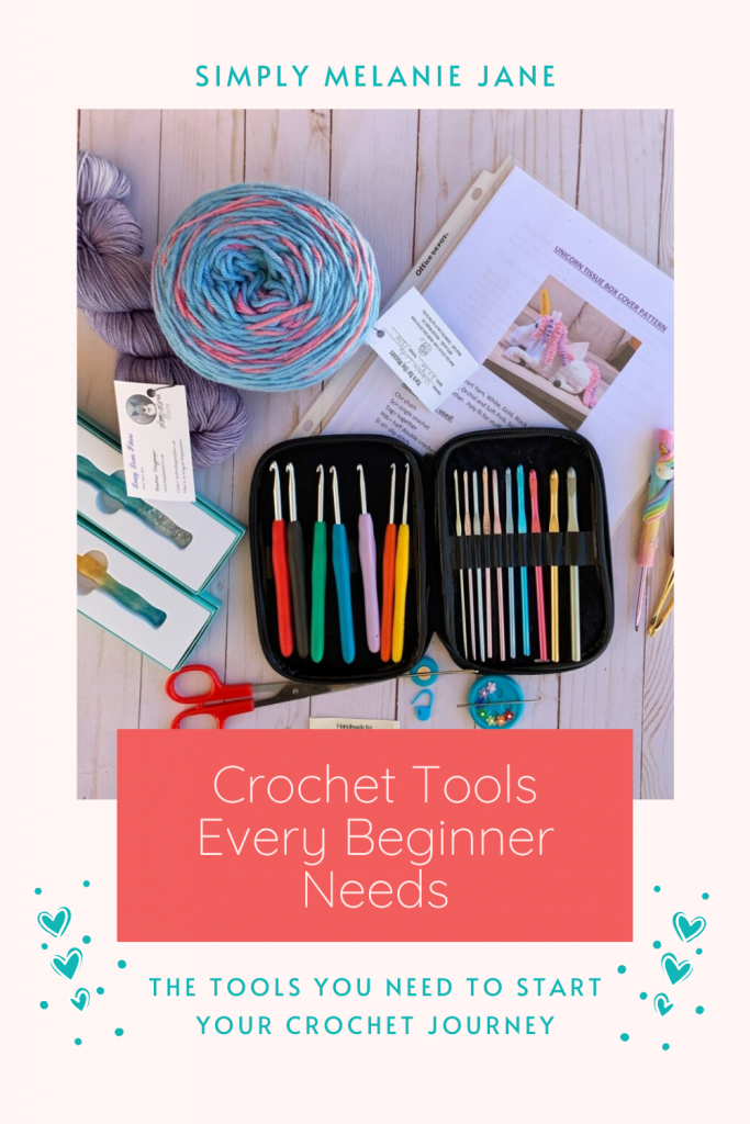 Pinterest Pin in teal and coral colors with a picture of yarn, crochet hooks,  scissors, and needles.