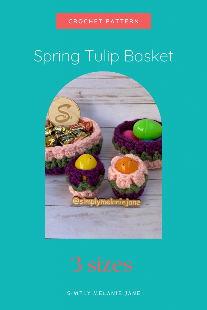 Pinterest Pin with teal background with picture of 2 purple and pink crochet flower baskets in 2 different sizes and 2 egg cozies.