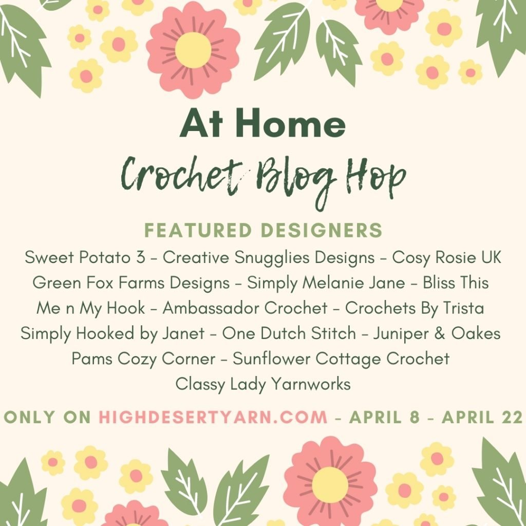 A beige clickable button  for At Home Crochet Blog Hop with blush flowers and green leaves