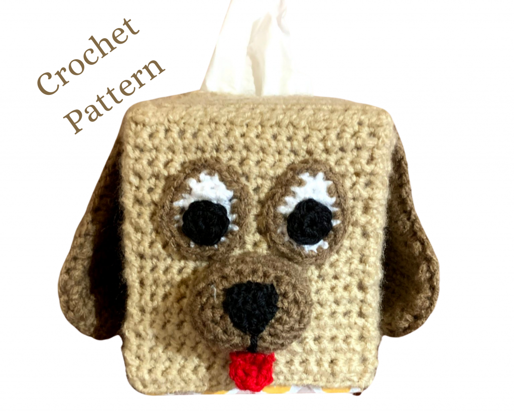A beige and chocolate crochet dog tissue cover.