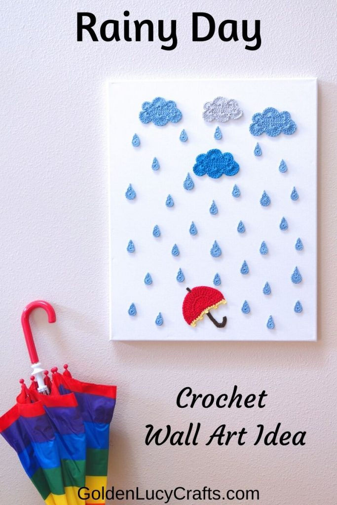 What better spring home decor than blue crochet clouds, rain and a red umbrella on a canvas.