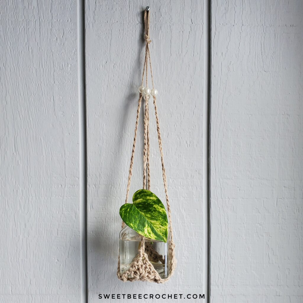 A beige crochet plant hanger with a mason jar inside. A green/yellow leaf is seen emerging from the jar.
