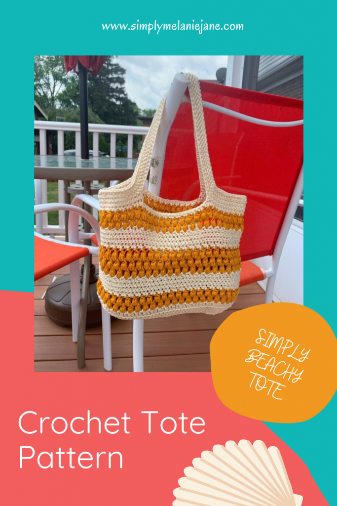 Teal and Coral colored Pinterest Pin with words Simply Beachy Tote and Crochet Tote Pattern. Picture shows a cream and gold tote slung on the back of a red chair.
