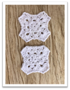 Crocheted Granny Square shaped like an X, shown wet blocked versus not blocked.