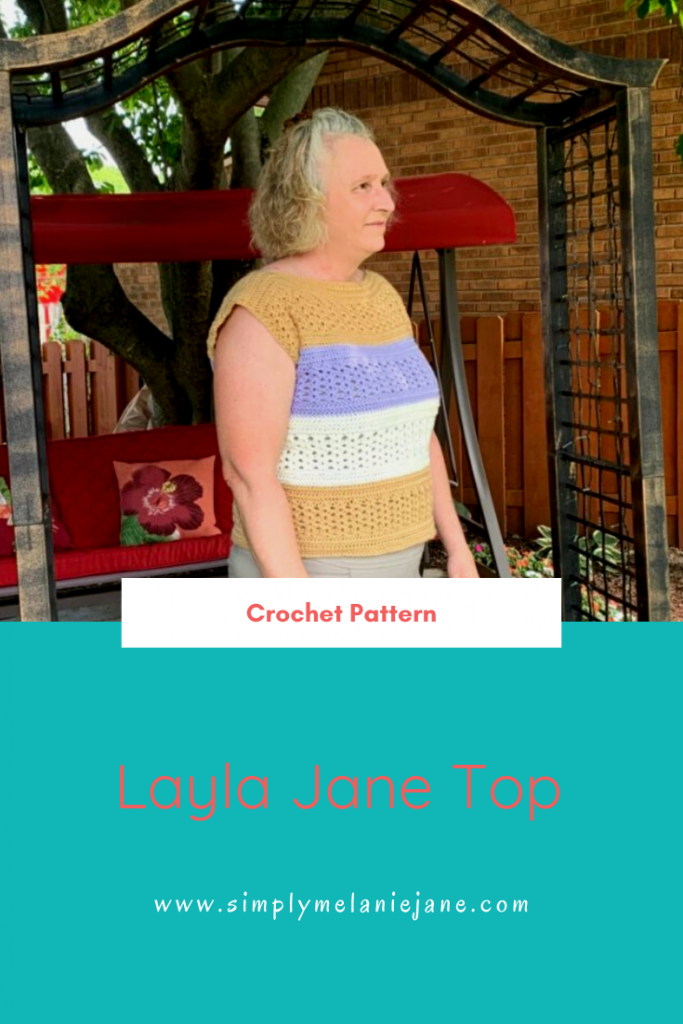 A pinterest pin of a woman wearing a color blocked Layla Jane Crochet Top in tan, purple, and cream. Words say, Crochet Pattern, Layla Jane Top.