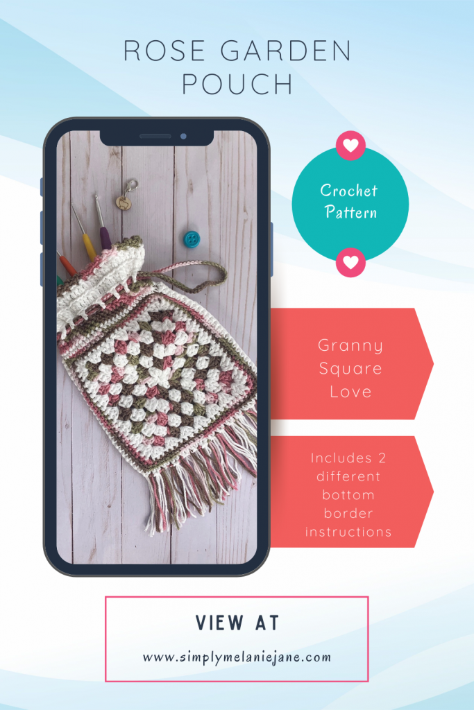 Pinterest Pin with a cell phone mock up with a granny square bag on the screen.