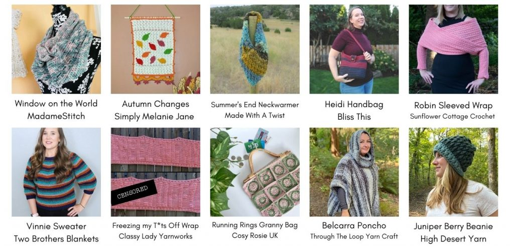 A collage of crochet designs including my autumn wall hanging. Scarfs, bags, garments, and hats are also shown.